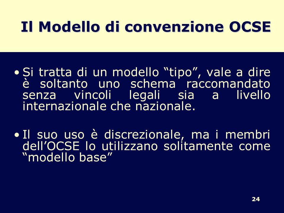 24 Il Modello di convenzione OCSE Si tratta di un modello tipo, vale a dire è soltanto uno schema raccomandato senza vincoli legali sia a livello inte