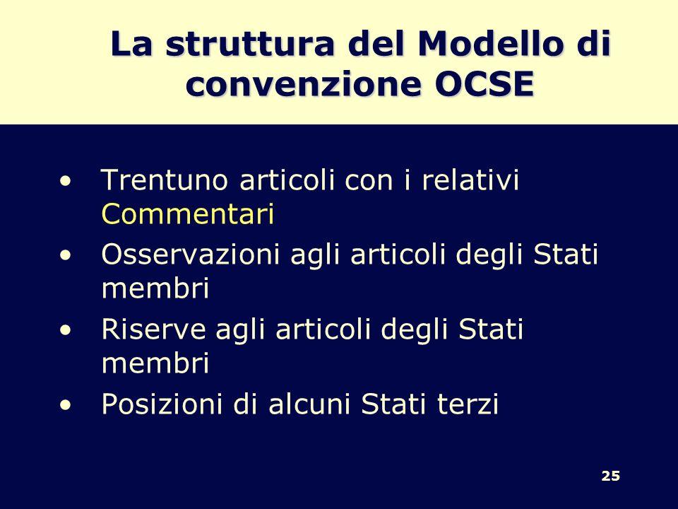25 La struttura del Modello di convenzione OCSE Trentuno articoli con i relativi Commentari Osservazioni agli articoli degli Stati membri Riserve agli