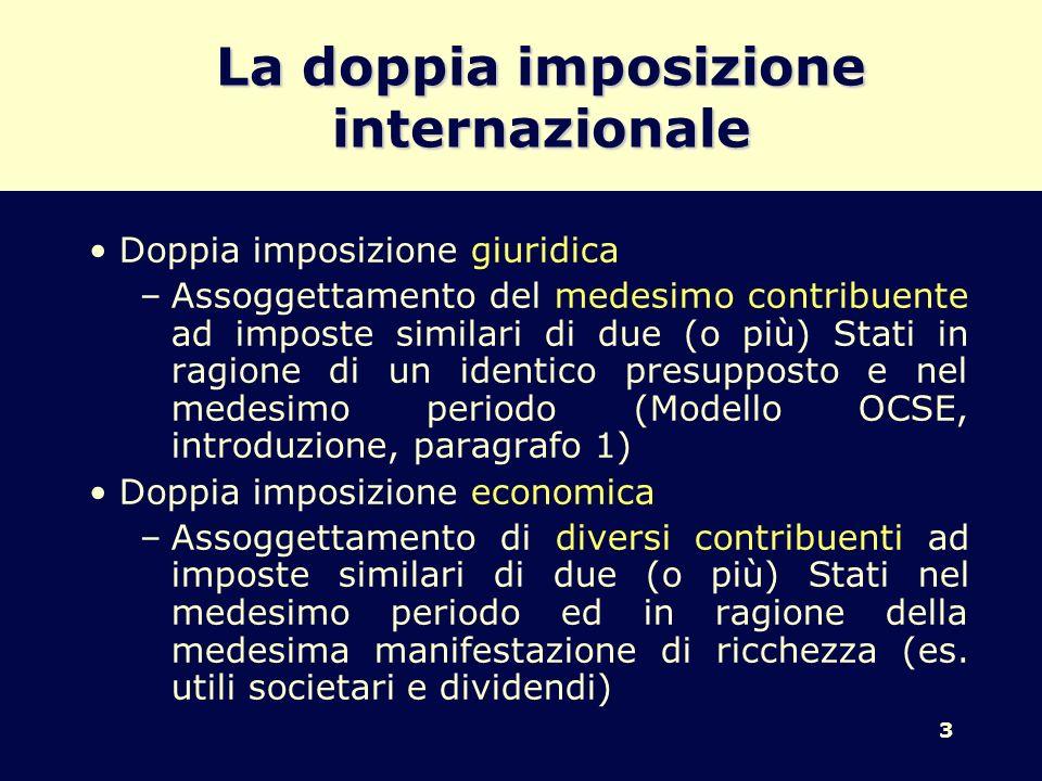 3 La doppia imposizione internazionale Doppia imposizione giuridica –Assoggettamento del medesimo contribuente ad imposte similari di due (o più) Stat