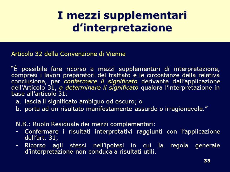 33 I mezzi supplementari dinterpretazione Articolo 32 della Convenzione di Vienna È possibile fare ricorso a mezzi supplementari di interpretazione, c