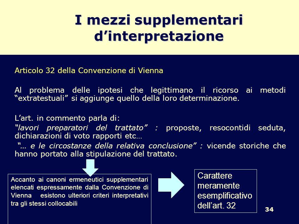 34 I mezzi supplementari dinterpretazione Articolo 32 della Convenzione di Vienna Al problema delle ipotesi che legittimano il ricorso ai metodi extra