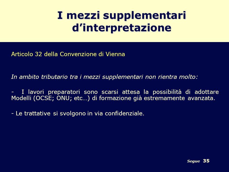Segue 35 I mezzi supplementari dinterpretazione Articolo 32 della Convenzione di Vienna In ambito tributario tra i mezzi supplementari non rientra mol