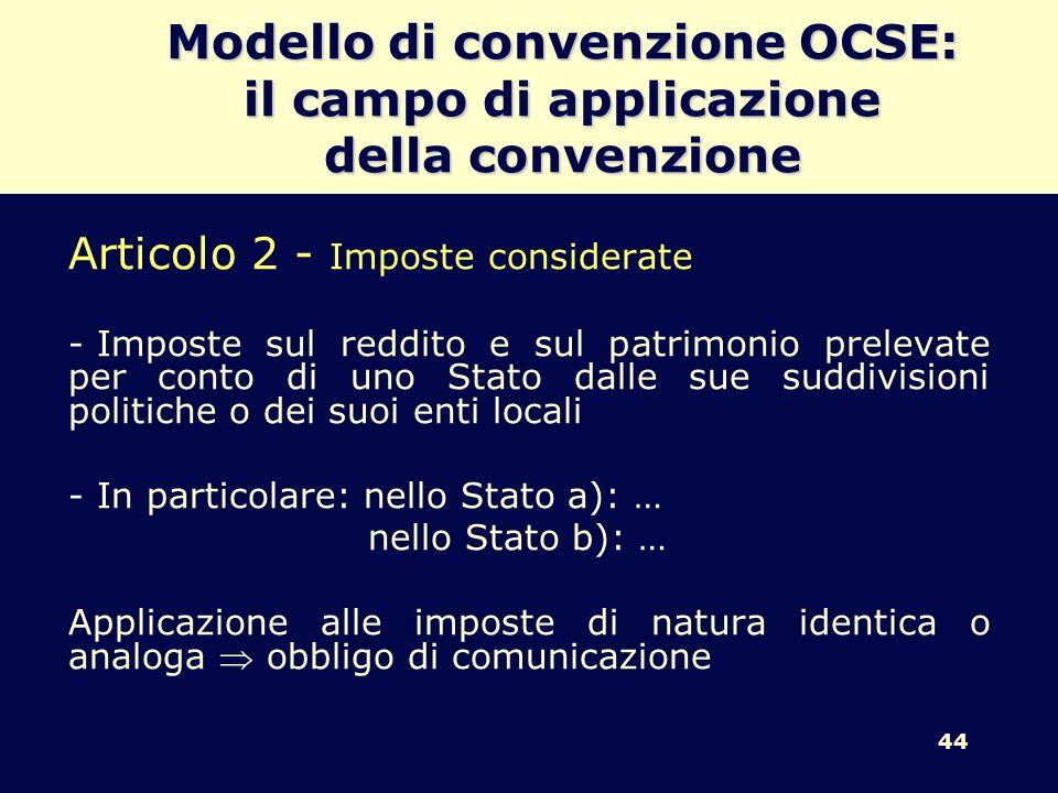 44 Modello di convenzione OCSE: il campo di applicazione della convenzione Articolo 2 - Imposte considerate - Imposte sul reddito e sul patrimonio pre