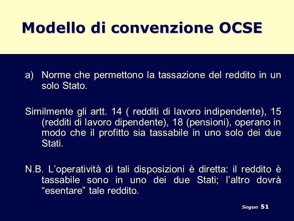 Segue 51 Modello di convenzione OCSE a)Norme che permettono la tassazione del reddito in un solo Stato. Similmente gli artt. 14 ( redditi di lavoro in
