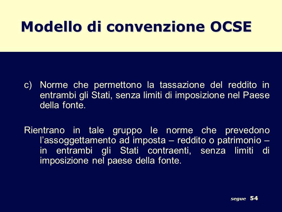 segue 54 Modello di convenzione OCSE c)Norme che permettono la tassazione del reddito in entrambi gli Stati, senza limiti di imposizione nel Paese del