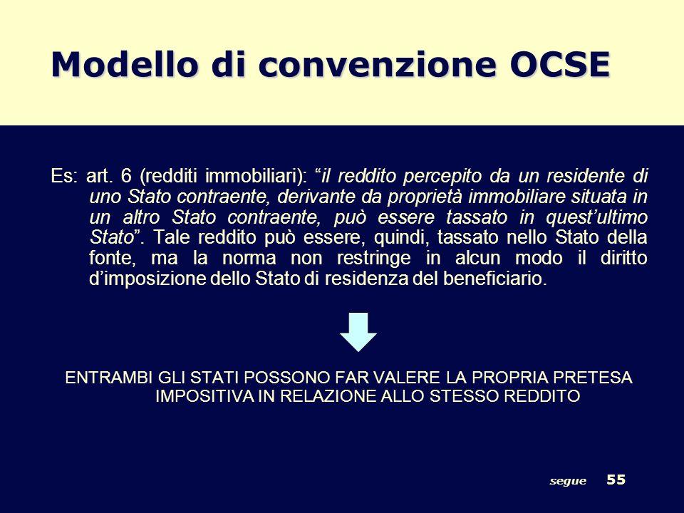segue 55 Modello di convenzione OCSE Es: art. 6 (redditi immobiliari): il reddito percepito da un residente di uno Stato contraente, derivante da prop
