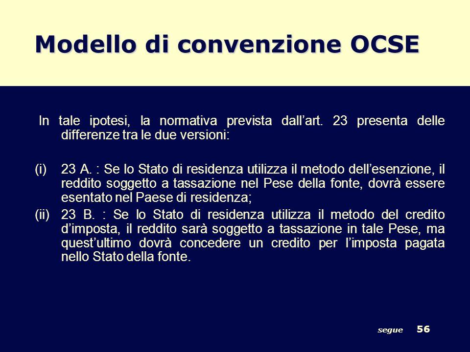 segue 56 Modello di convenzione OCSE In tale ipotesi, la normativa prevista dallart. 23 presenta delle differenze tra le due versioni: (i)23 A. : Se l