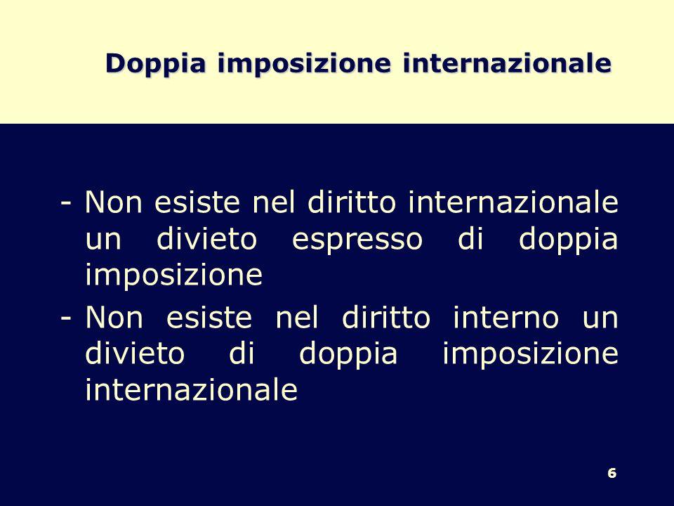 6 Doppia imposizione internazionale - Non esiste nel diritto internazionale un divieto espresso di doppia imposizione -Non esiste nel diritto interno