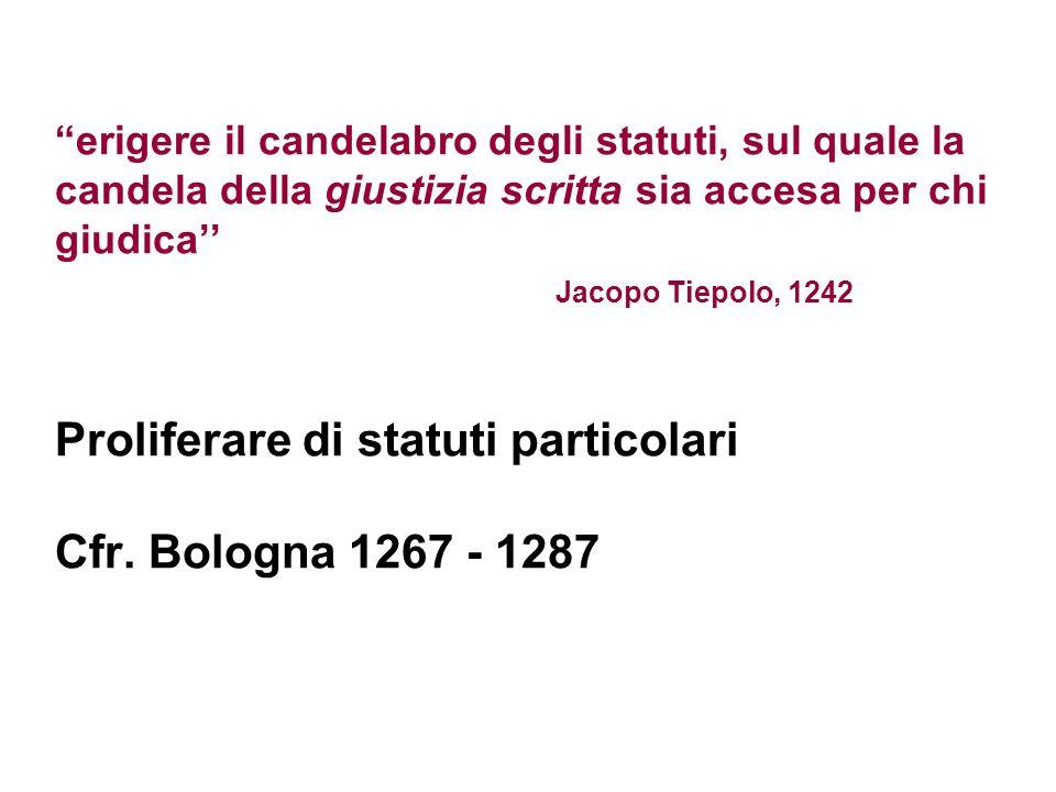 erigere il candelabro degli statuti, sul quale la candela della giustizia scritta sia accesa per chi giudica Jacopo Tiepolo, 1242 Proliferare di statu