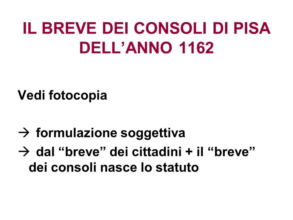 IL BREVE DEI CONSOLI DI PISA DELLANNO 1162 Vedi fotocopia formulazione soggettiva dal breve dei cittadini + il breve dei consoli nasce lo statuto