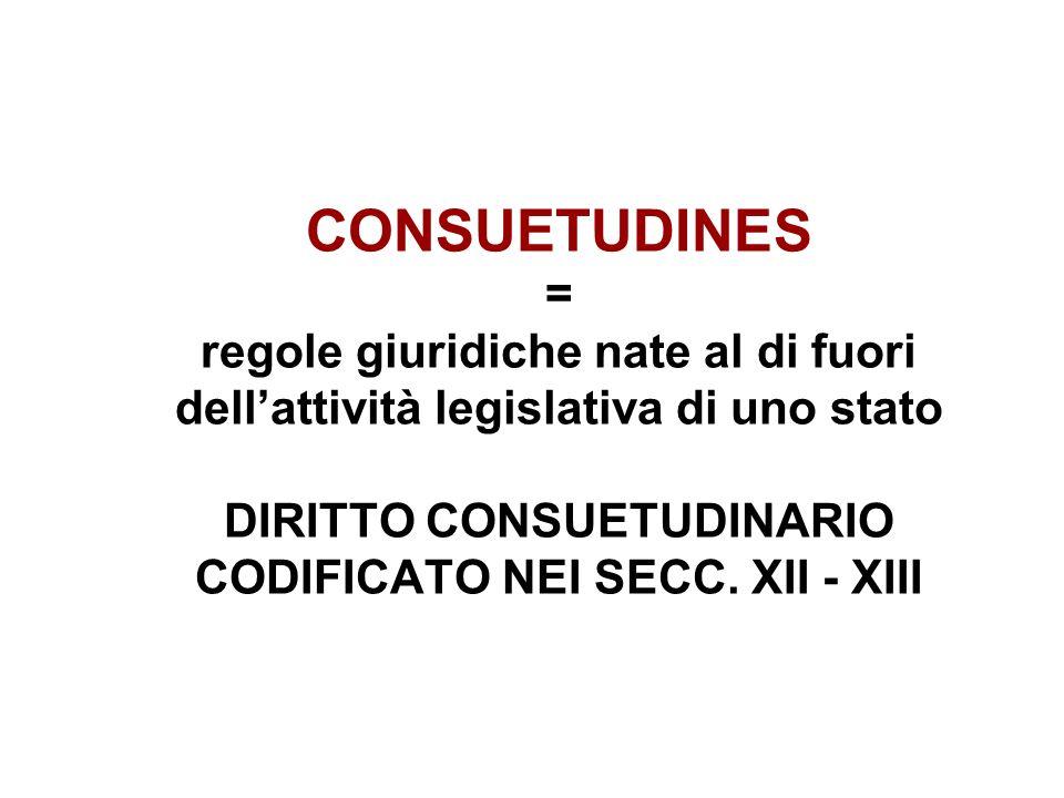 CONSUETUDINES = regole giuridiche nate al di fuori dellattività legislativa di uno stato DIRITTO CONSUETUDINARIO CODIFICATO NEI SECC. XII - XIII
