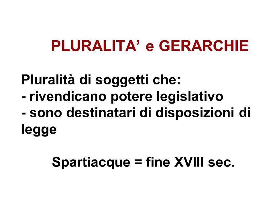 PLURALITA e GERARCHIE Pluralità di soggetti che: - rivendicano potere legislativo - sono destinatari di disposizioni di legge Spartiacque = fine XVIII