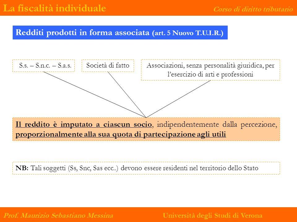 La fiscalità individuale Corso di diritto tributario Prof. Maurizio Sebastiano Messina Università degli Studi di Verona S.s. – S.n.c. – S.a.s. Redditi