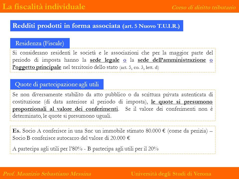 La fiscalità individuale Corso di diritto tributario Prof. Maurizio Sebastiano Messina Università degli Studi di Verona Redditi prodotti in forma asso