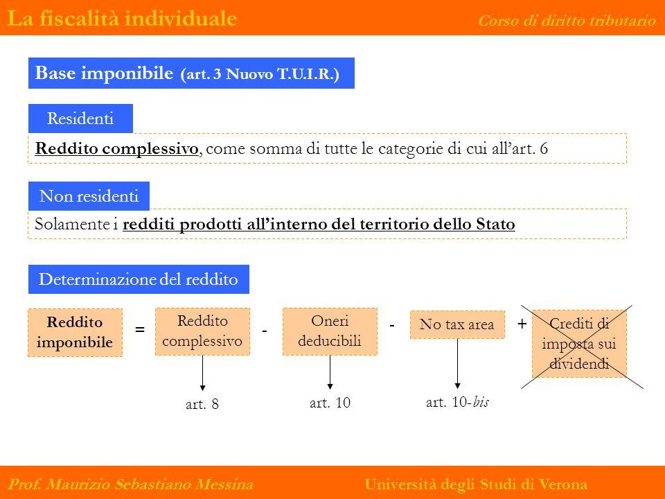 La fiscalità individuale Corso di diritto tributario Prof. Maurizio Sebastiano Messina Università degli Studi di Verona Reddito complessivo, come somm