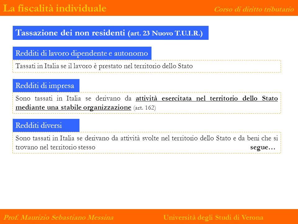 La fiscalità individuale Corso di diritto tributario Prof. Maurizio Sebastiano Messina Università degli Studi di Verona Tassazione dei non residenti (