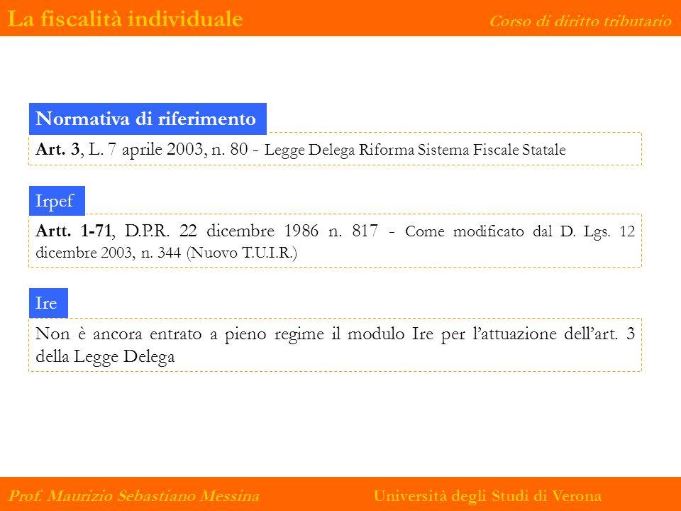 La fiscalità individuale Corso di diritto tributario Prof. Maurizio Sebastiano Messina Università degli Studi di Verona Art. 3, L. 7 aprile 2003, n. 8