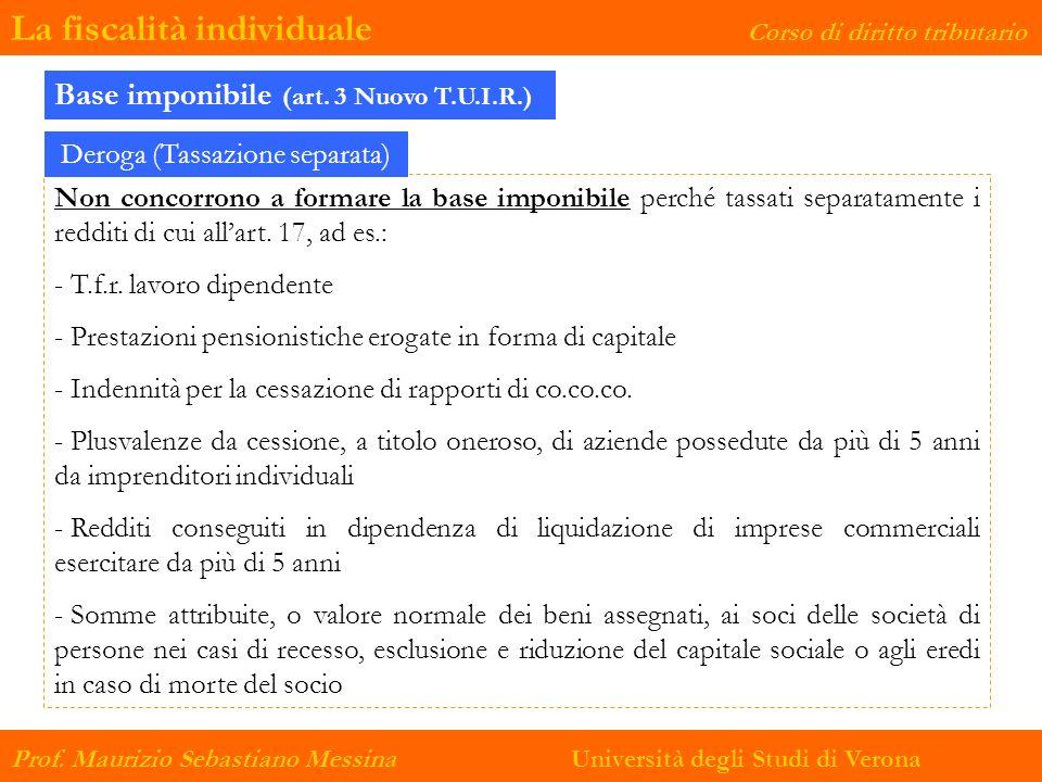 La fiscalità individuale Corso di diritto tributario Prof. Maurizio Sebastiano Messina Università degli Studi di Verona Non concorrono a formare la ba