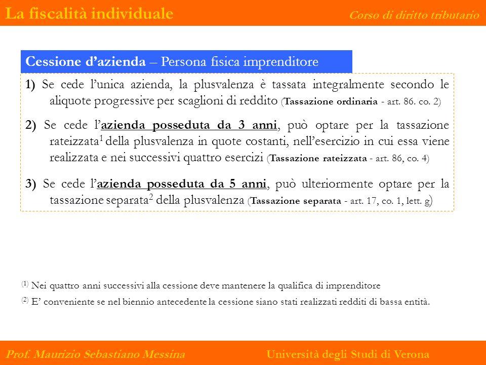 La fiscalità individuale Corso di diritto tributario Prof. Maurizio Sebastiano Messina Università degli Studi di Verona Cessione dazienda – Persona fi