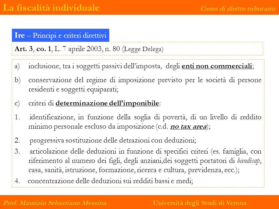 La fiscalità individuale Corso di diritto tributario Prof. Maurizio Sebastiano Messina Università degli Studi di Verona Art. 3, co. 1, L. 7 aprile 200