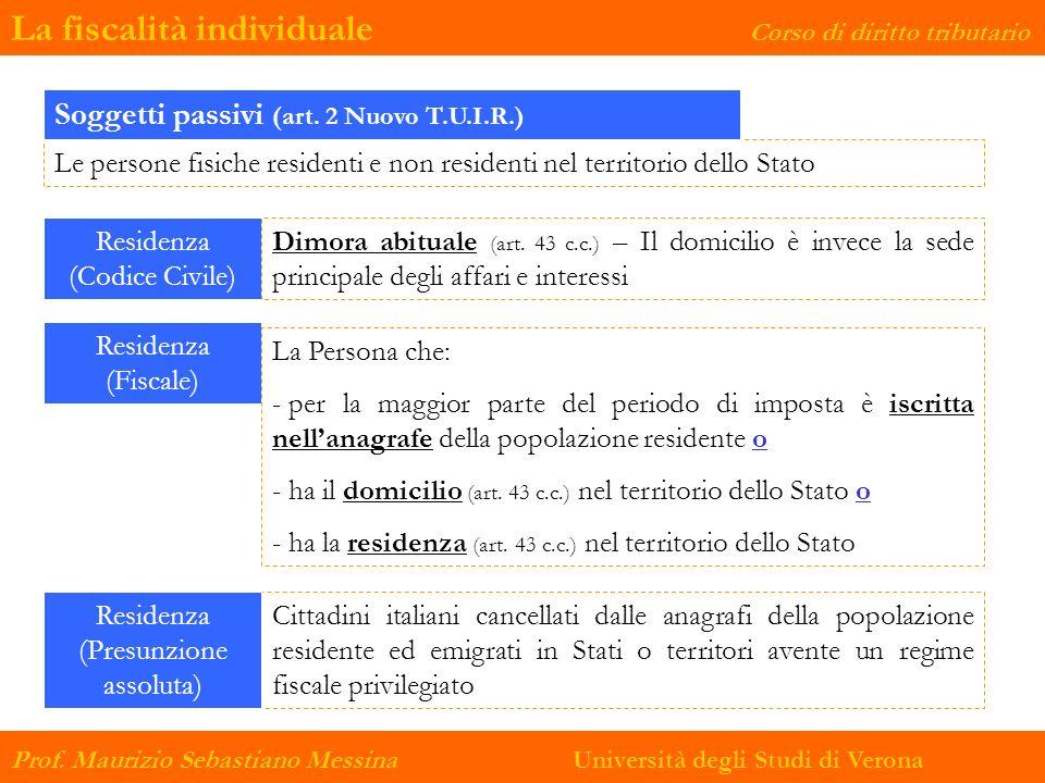 La fiscalità individuale Corso di diritto tributario Prof. Maurizio Sebastiano Messina Università degli Studi di Verona Le persone fisiche residenti e