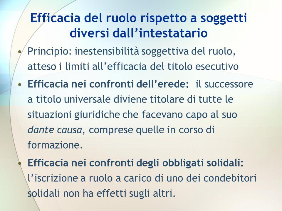 Efficacia del ruolo rispetto a soggetti diversi dallintestatario Principio: inestensibilità soggettiva del ruolo, atteso i limiti allefficacia del tit