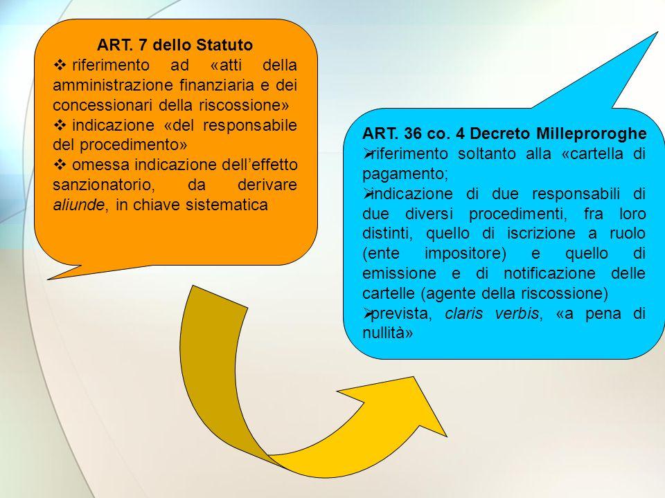 ART. 7 dello Statuto riferimento ad «atti della amministrazione finanziaria e dei concessionari della riscossione» indicazione «del responsabile del p