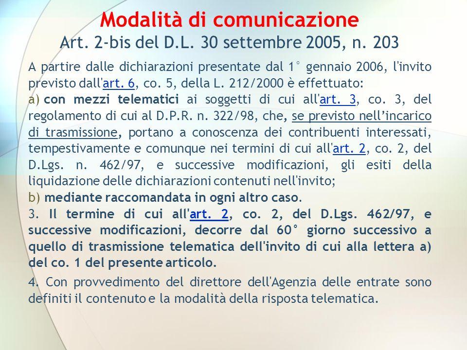 Modalità di comunicazione Art. 2-bis del D.L. 30 settembre 2005, n. 203 A partire dalle dichiarazioni presentate dal 1° gennaio 2006, l'invito previst