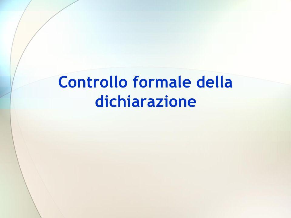 Controllo formale della dichiarazione
