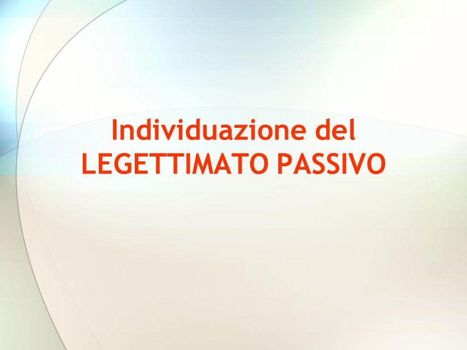 Individuazione del LEGETTIMATO PASSIVO