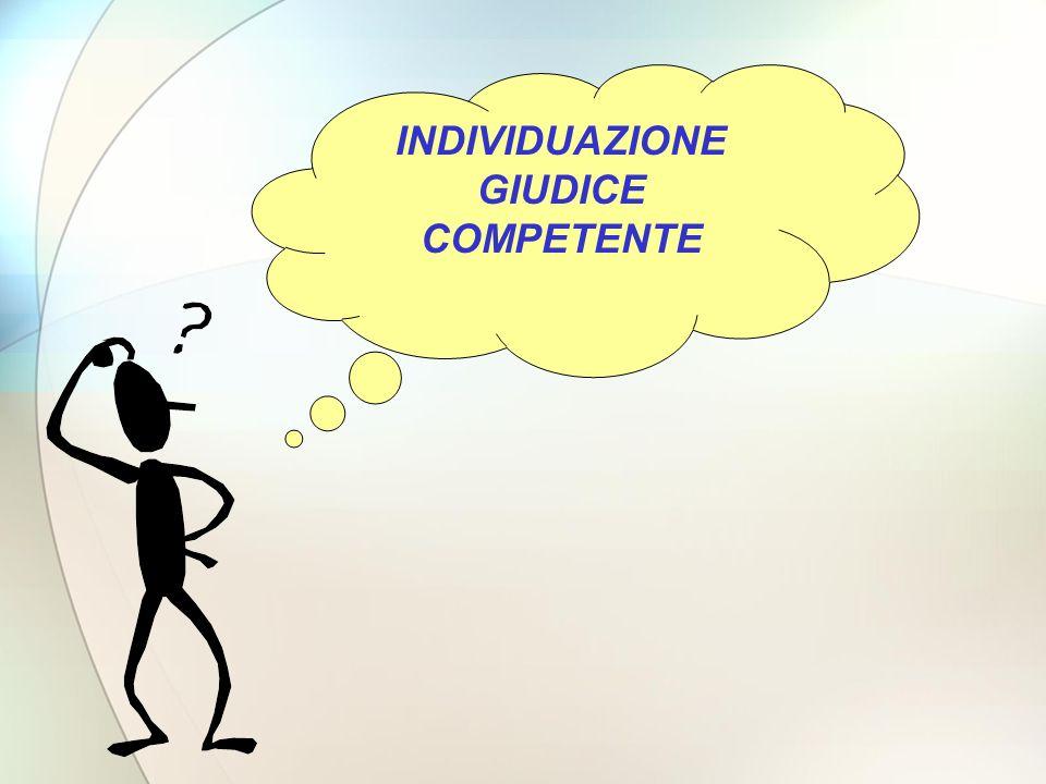 INDIVIDUAZIONE GIUDICE COMPETENTE