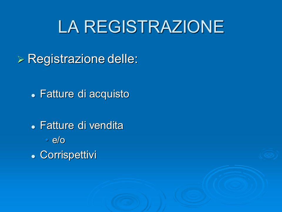 LA REGISTRAZIONE Registrazione delle: Registrazione delle: Fatture di acquisto Fatture di acquisto Fatture di vendita Fatture di vendita e/oe/o Corris
