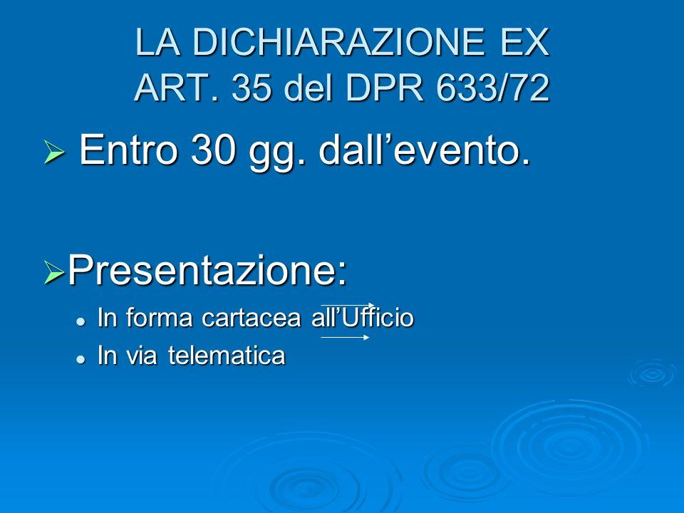 LA DICHIARAZIONE EX ART. 35 del DPR 633/72 Entro 30 gg. dallevento. Entro 30 gg. dallevento. Presentazione: Presentazione: In forma cartacea allUffici
