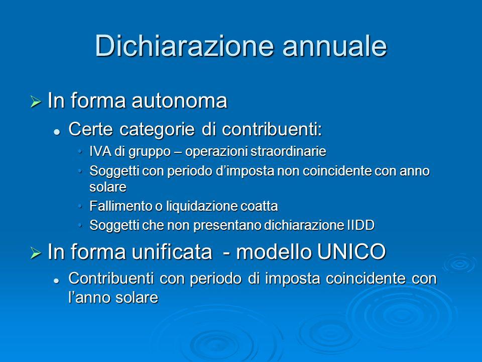 Dichiarazione annuale In forma autonoma In forma autonoma Certe categorie di contribuenti: Certe categorie di contribuenti: IVA di gruppo – operazioni