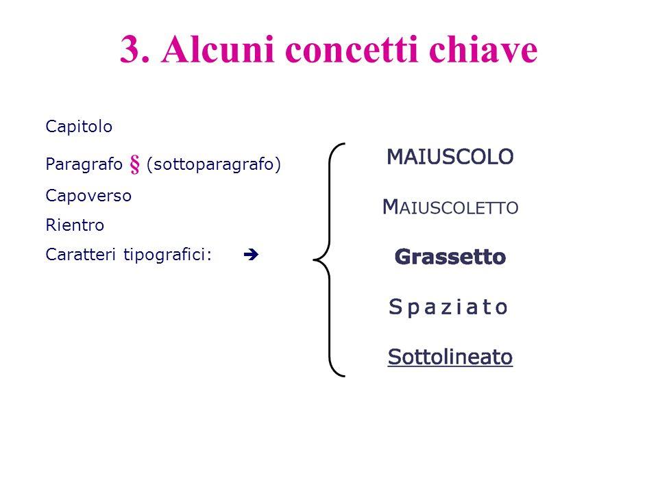 Capitolo Paragrafo § (sottoparagrafo) Capoverso Rientro Caratteri tipografici: 3. Alcuni concetti chiave