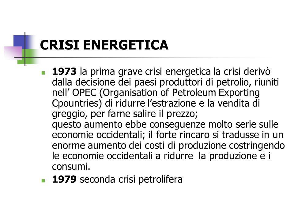 Se laumento dei costi comportò una crescita generale dei prezzi = INFLAZIONE Linflazione rallentò la produzione e i consumi = RECESSIONE