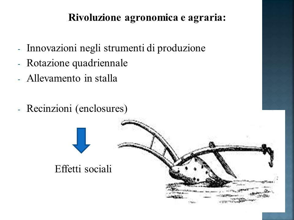 Rivoluzione agronomica e agraria: - Innovazioni negli strumenti di produzione - Rotazione quadriennale - Allevamento in stalla - Recinzioni (enclosures) Effetti sociali