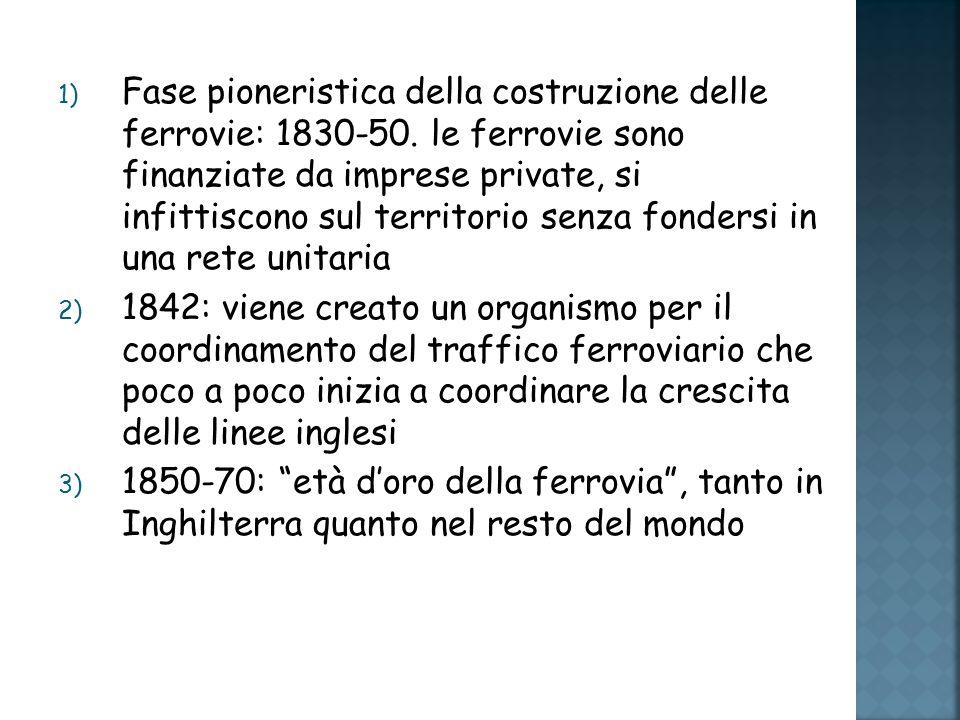 1) Fase pioneristica della costruzione delle ferrovie: 1830-50.