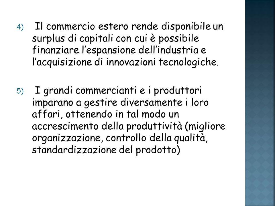 4) Il commercio estero rende disponibile un surplus di capitali con cui è possibile finanziare lespansione dellindustria e lacquisizione di innovazioni tecnologiche.