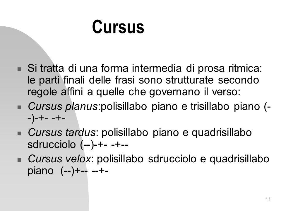 11 Cursus Si tratta di una forma intermedia di prosa ritmica: le parti finali delle frasi sono strutturate secondo regole affini a quelle che governan