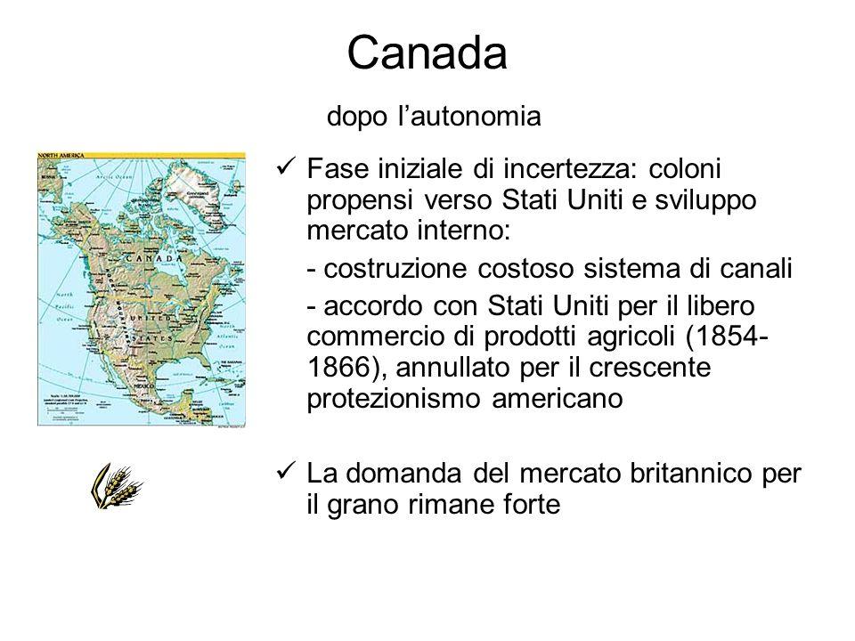 Canada dopo lautonomia Fase iniziale di incertezza: coloni propensi verso Stati Uniti e sviluppo mercato interno: - costruzione costoso sistema di can