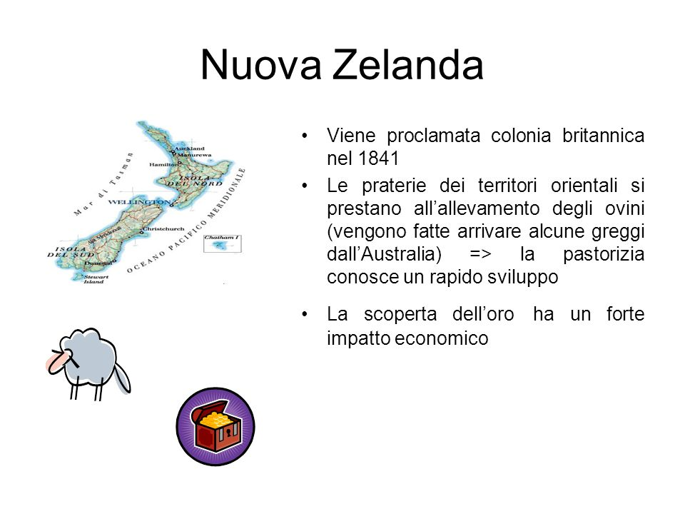 Nuova Zelanda Viene proclamata colonia britannica nel 1841 Le praterie dei territori orientali si prestano allallevamento degli ovini (vengono fatte a