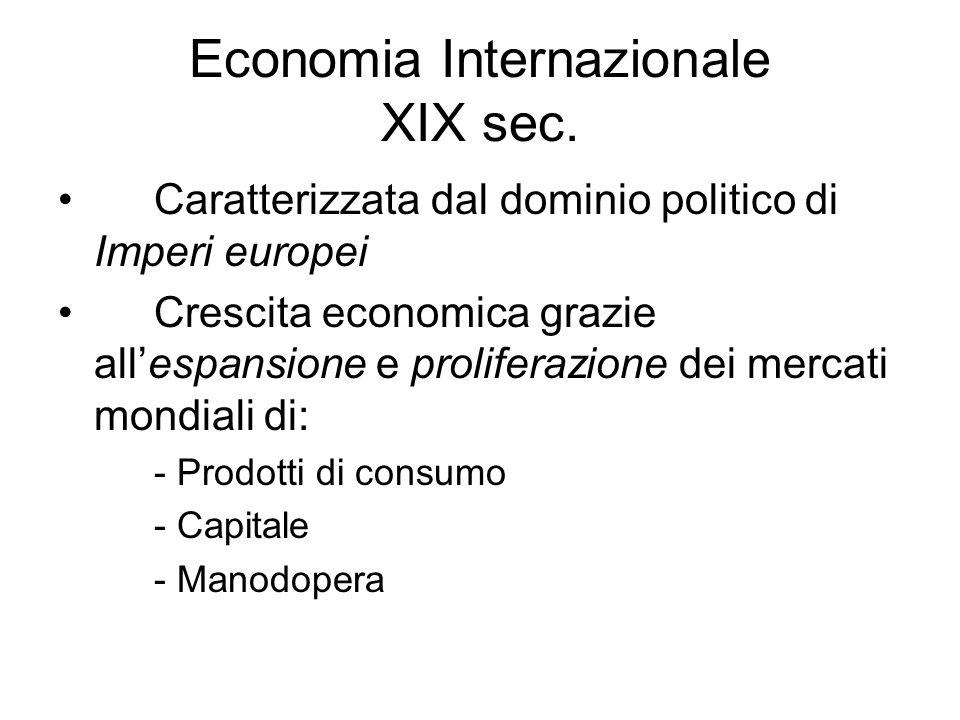Economia Internazionale XIX sec. Caratterizzata dal dominio politico di Imperi europei Crescita economica grazie allespansione e proliferazione dei me