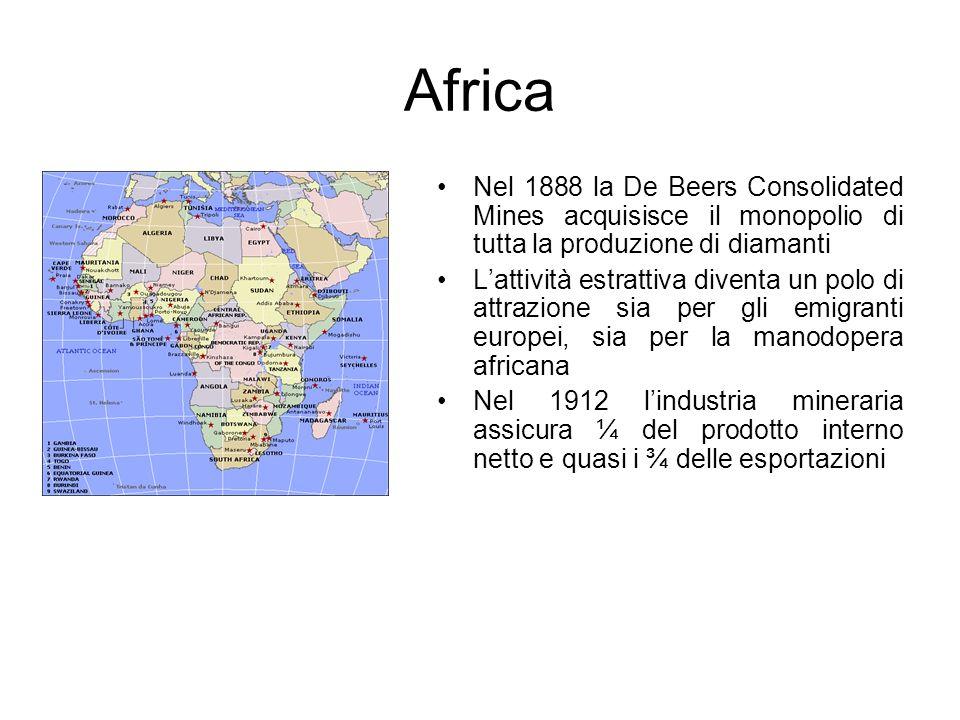 Africa Nel 1888 la De Beers Consolidated Mines acquisisce il monopolio di tutta la produzione di diamanti Lattività estrattiva diventa un polo di attr