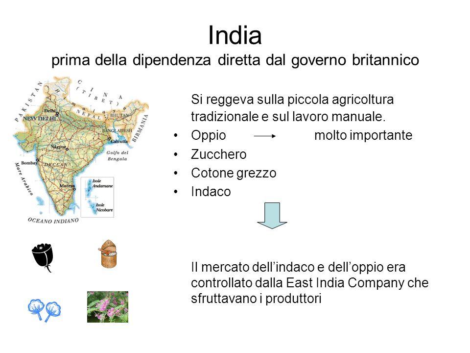 India prima della dipendenza diretta dal governo britannico Si reggeva sulla piccola agricoltura tradizionale e sul lavoro manuale. Oppio molto import