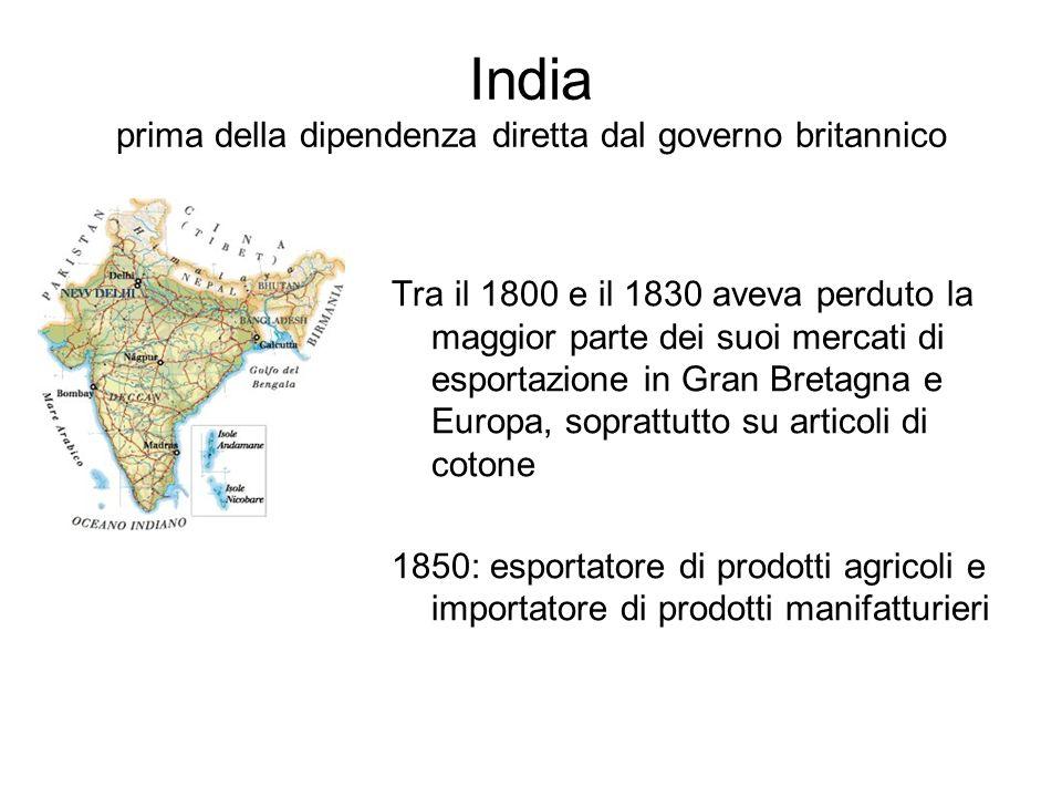 India prima della dipendenza diretta dal governo britannico Tra il 1800 e il 1830 aveva perduto la maggior parte dei suoi mercati di esportazione in G