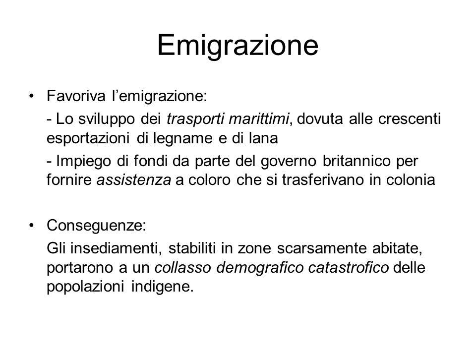 Emigrazione Favoriva lemigrazione: - Lo sviluppo dei trasporti marittimi, dovuta alle crescenti esportazioni di legname e di lana - Impiego di fondi d