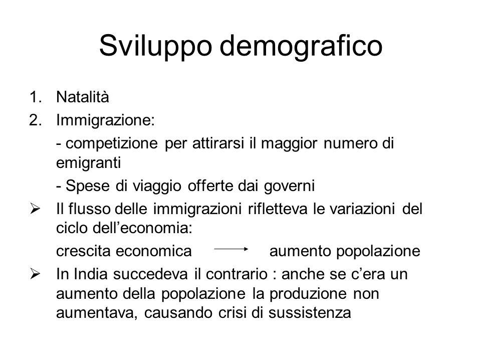 Sviluppo demografico 1.Natalità 2.Immigrazione: - competizione per attirarsi il maggior numero di emigranti - Spese di viaggio offerte dai governi Il