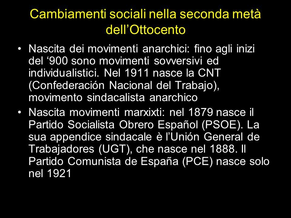 Cambiamenti sociali nella seconda metà dellOttocento Nascita dei movimenti anarchici: fino agli inizi del 900 sono movimenti sovversivi ed individualistici.