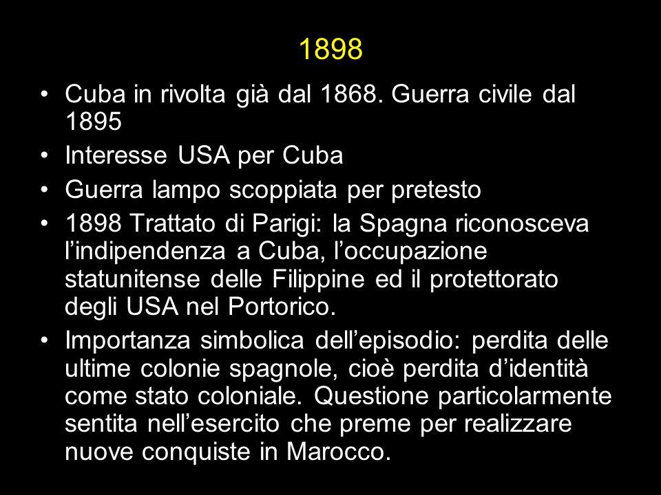 1898 Cuba in rivolta già dal 1868.